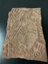 Lot 147: Vintage Native American Hopi kokopelli fertility symbol etched ceramic stone art piece