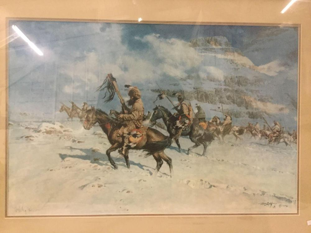 Lot 153: Ltd Ed signed lithograph by Frank McCarthy - Snow Moon #'d 502/1000 in wood frame