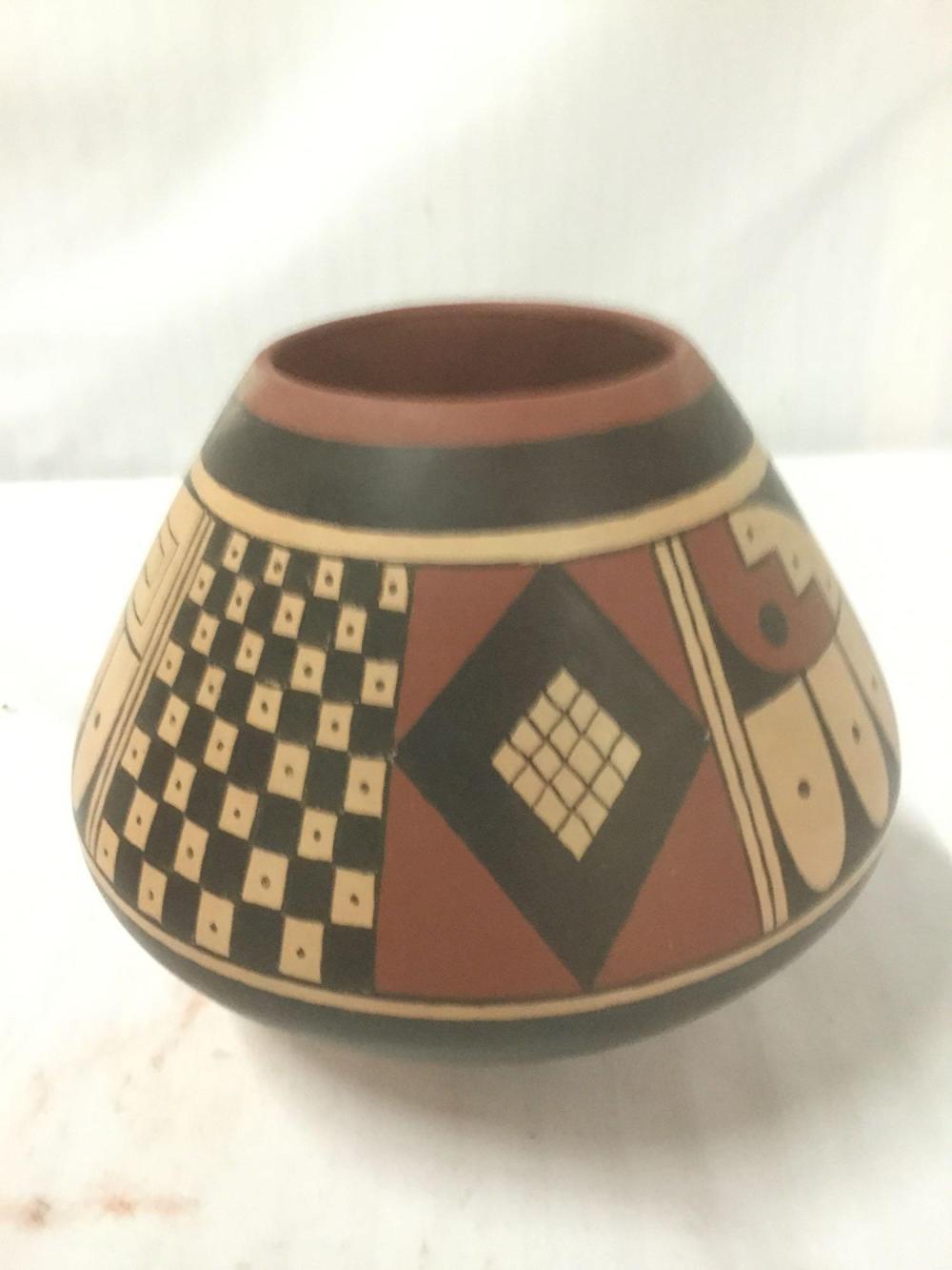 Lot 146: Genuine Hopi ceramic pots w/ COA - Bandelier Trading Co. signed A. Yesselith Hopi & S. Setall