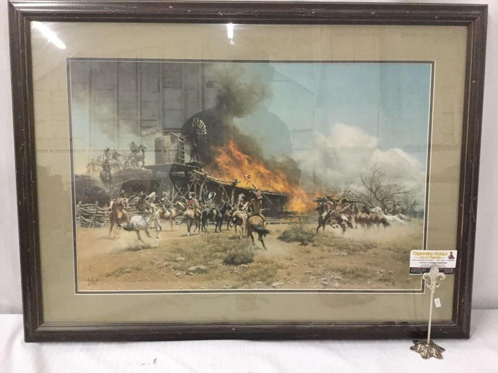 Lot 152: Ltd Ed signed lithograph by Frank McCarthy - Burning the Way Station #'d 735/1000 in wood frame
