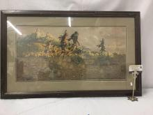 Lot 155: Ltd Ed signed lithograph by Frank McCarthy - The Warriors #'d 271/1000 in wood frame
