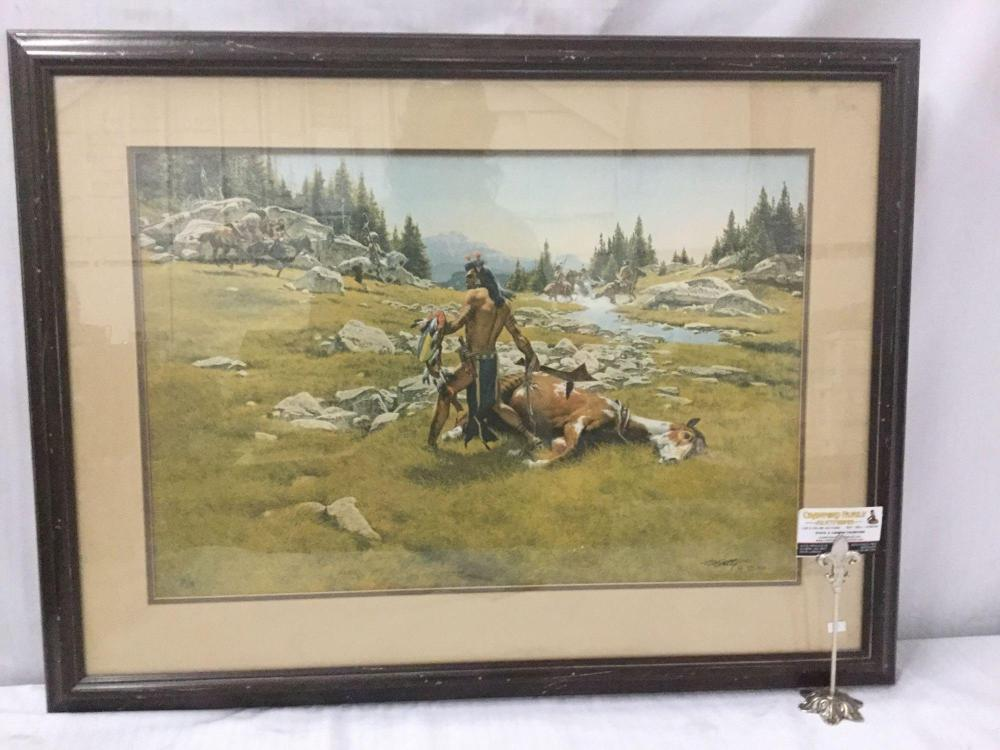 Ltd Ed signed lithograph by Frank McCarthy - Surrounded - #'d 601/1000 in wooden frame