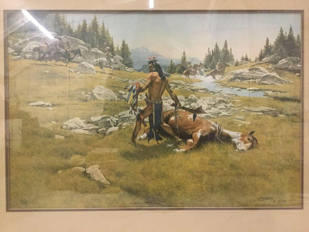 Lot 156: Ltd Ed signed lithograph by Frank McCarthy - Surrounded - #'d 601/1000 in wooden frame