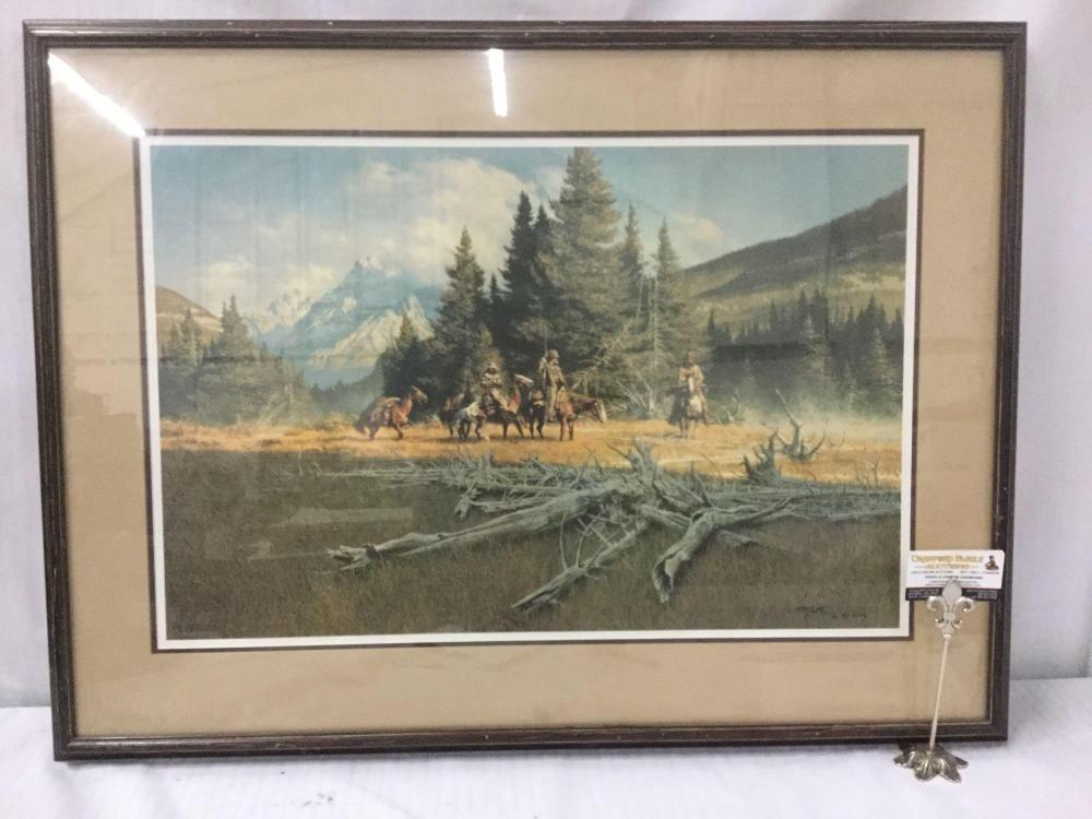 Ltd Ed signed lithograph by Frank McCarthy - A Time of Decision in wooden frame