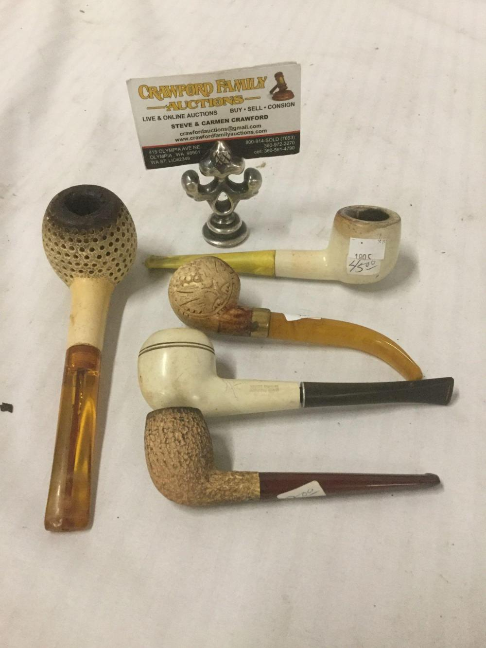 Collection of 5 vintage meerschaum style pipes - one is Briar wood