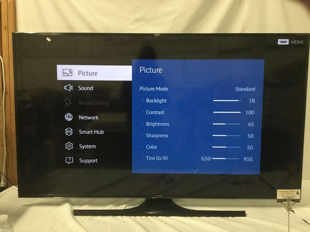 """Lot 158: Samsung 65"""" Class JU650D 4K UHD Smart TV. Tested and working"""