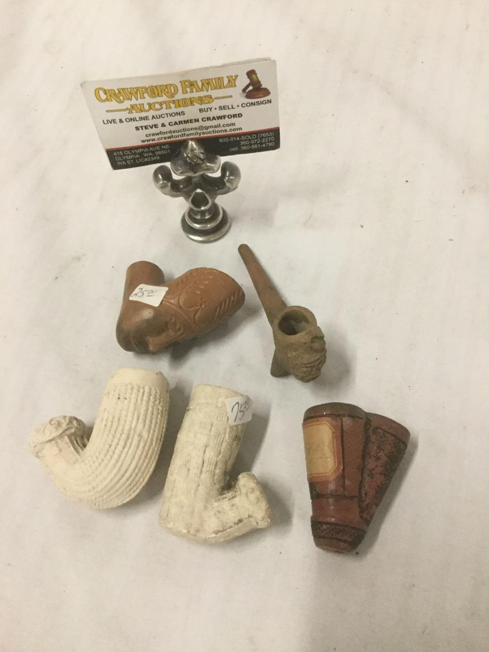 Lot 162: Collection of 5 vintage and antique clay pipe pieces - see pics