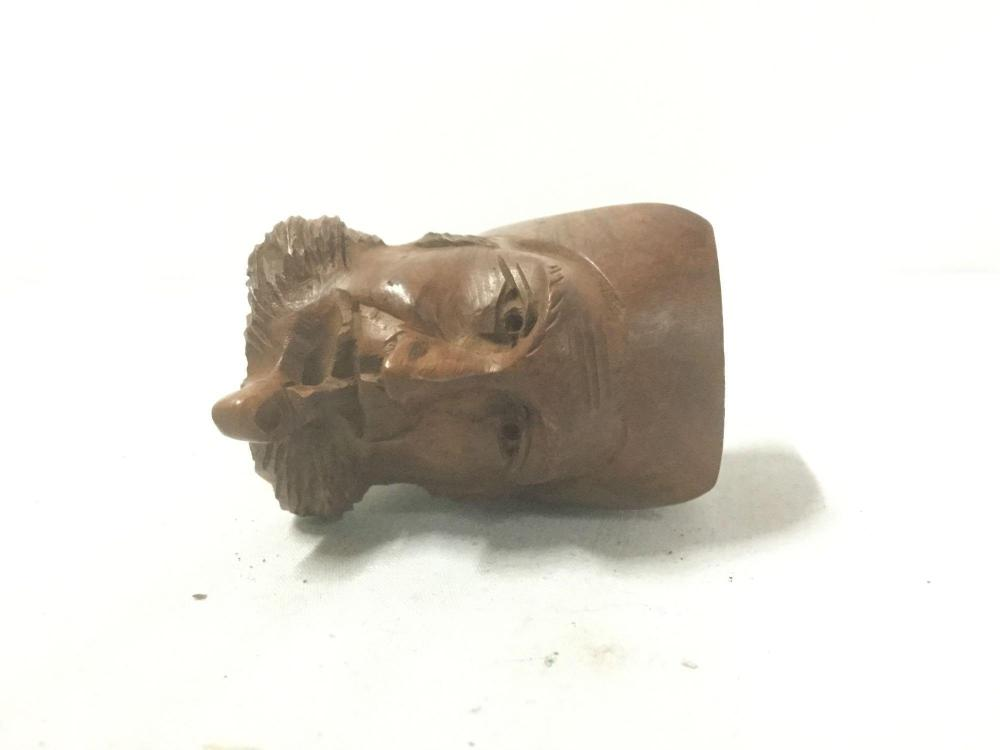 Lot 166: Hand carved vintage pipe bowl of man smoking pipe