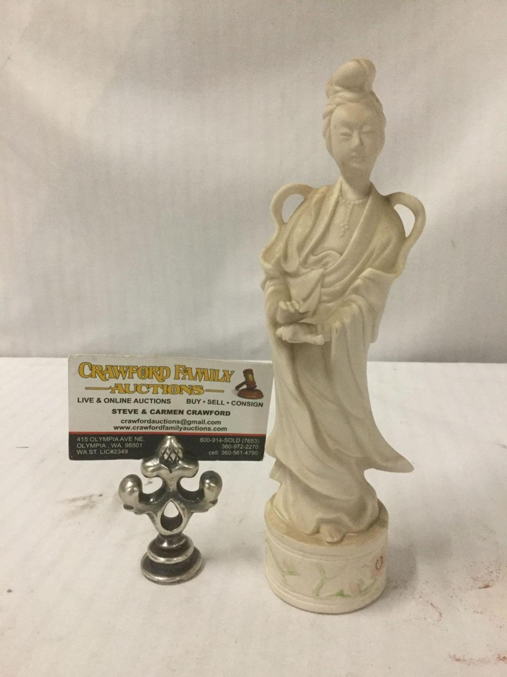 Lot 141: Vintage carved soapstone sage statue of Woman with scroll - marked on bottom