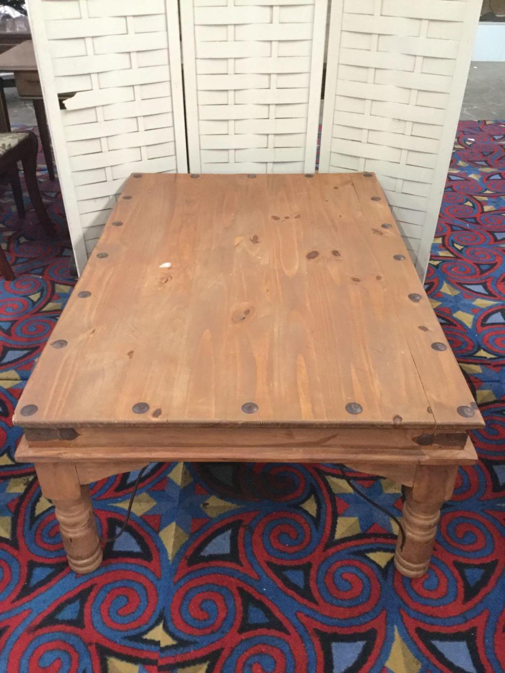 Large vintage Mexican made wormwood Mission style coffee table - has some damage as is