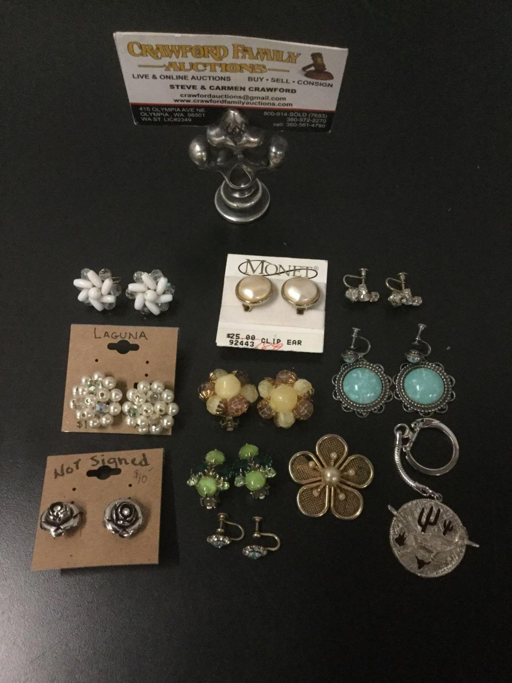10 pieces of vintage and modern costume jewelry earrings & one roadrunner keychain