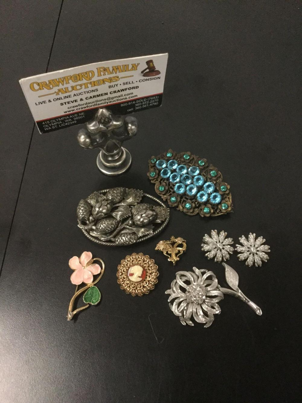 6 antique & modern costume jewelry brooches with pair of earrings - Monet, Lisner, Simmons, etc