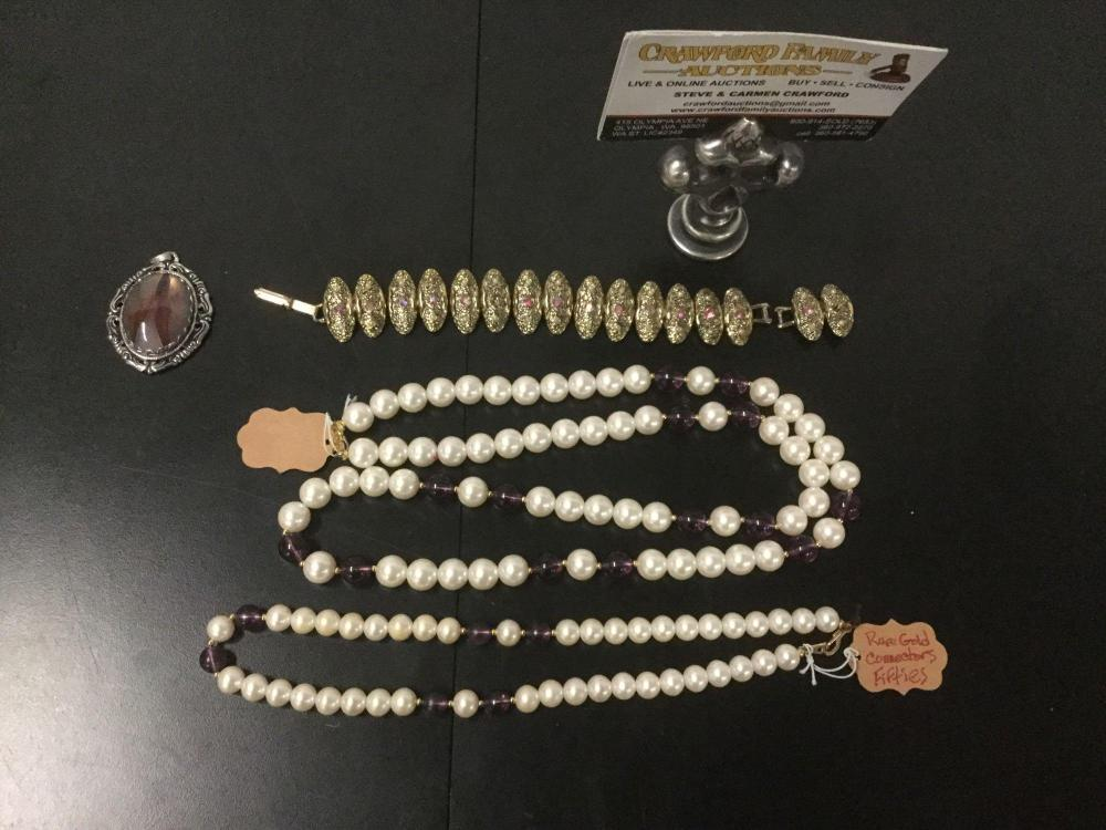 Lot 170: 4 pc of vintage costume jewelry - Judy Lee red rhinestone bracelet, Silvertone necklace with agate
