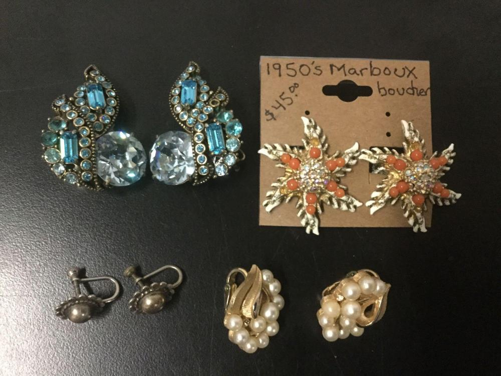4 antique & vintage costume jewelry & 1 sterling earrings - 50's Marble Boucher, Trifari, etc