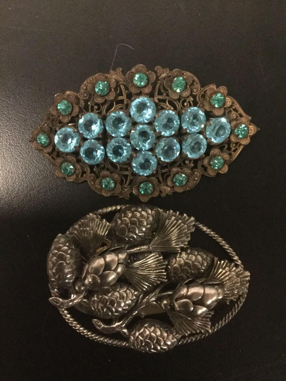 Lot 171: 6 antique & modern costume jewelry brooches with pair of earrings - Monet, Lisner, Simmons, etc