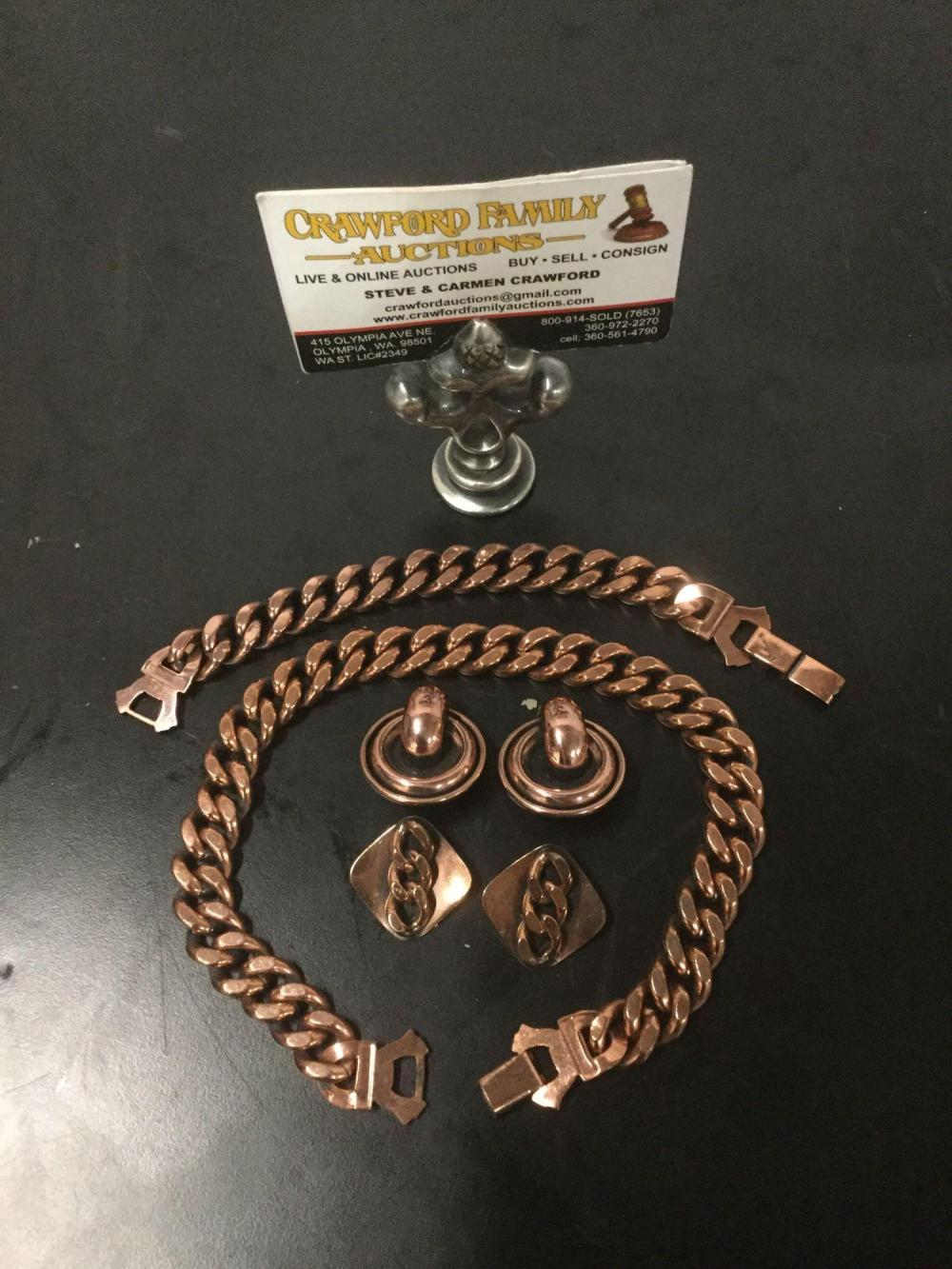 Lot 177: Vintage Renoir copper chain jewelry set - 13 inch necklace, bracelet, and 2 pair of earrings