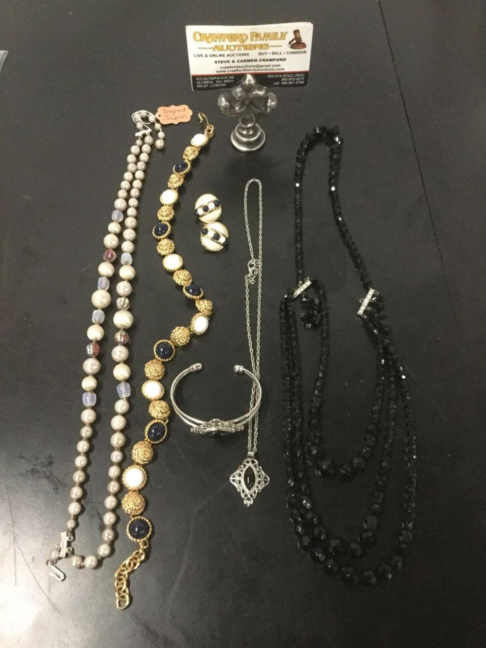 4 vintage & modern costume jewelry necklaces, a pair of earrings and a bracelet - see pics