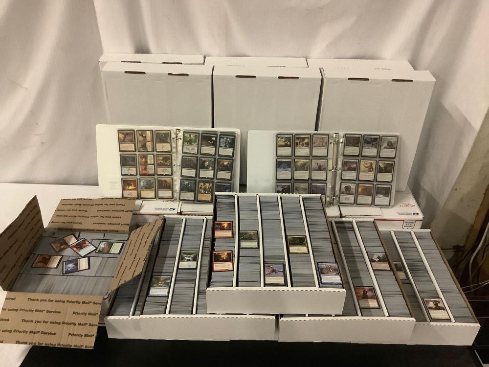 Large collection of 11 boxes & 2 binders (70 thousand cards) of Magic cards incl. rares & foils