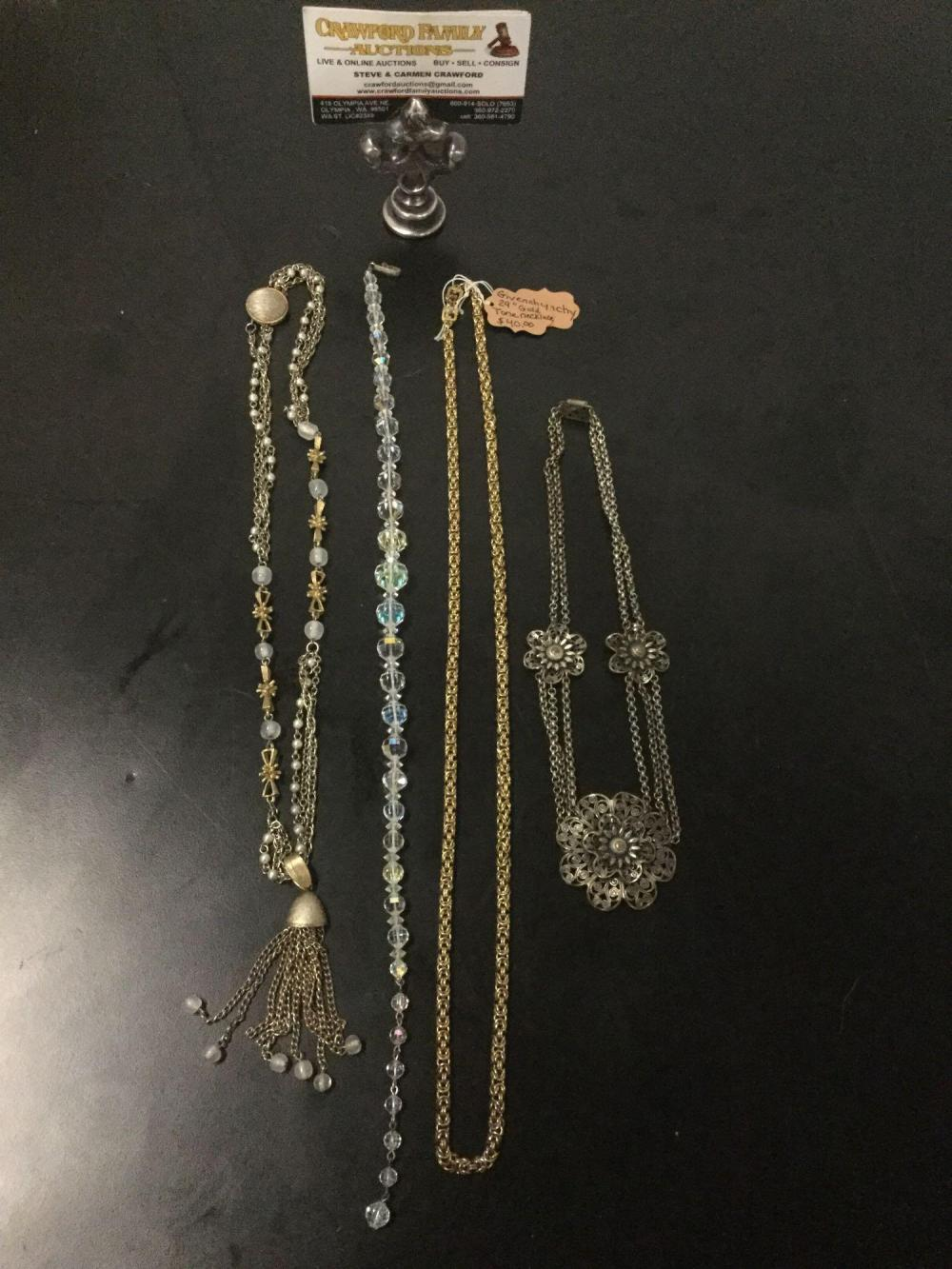 4 vintage estate jewelry necklaces incl. Mexican filigree necklace, Laguna crystal choker, etc