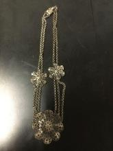 Lot 179: 4 vintage estate jewelry necklaces incl. Mexican filigree necklace, Laguna crystal choker, etc