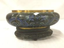 Lot 183: Vintage cloisonne bowl with dragon designs & gilt accents w/ greek key design pierced stand as is