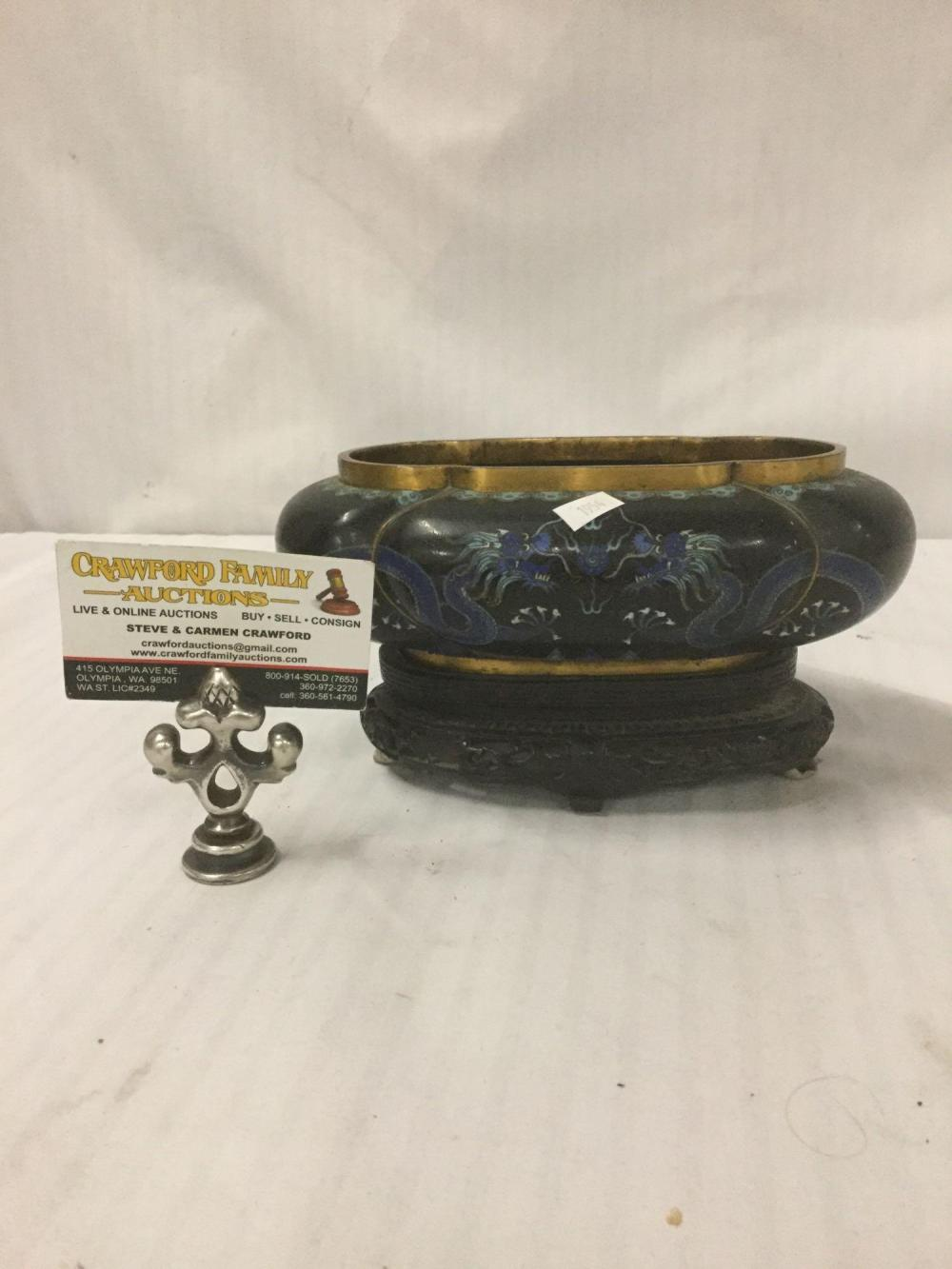 Vintage cloisonne bowl with dragon designs & gilt accents w/ greek key design pierced stand as is