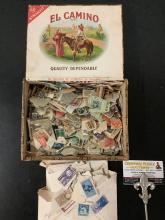 Lot 184: Antique El Camino Cigar box full of antique stamp collection, huge lot of post marked postage stamps