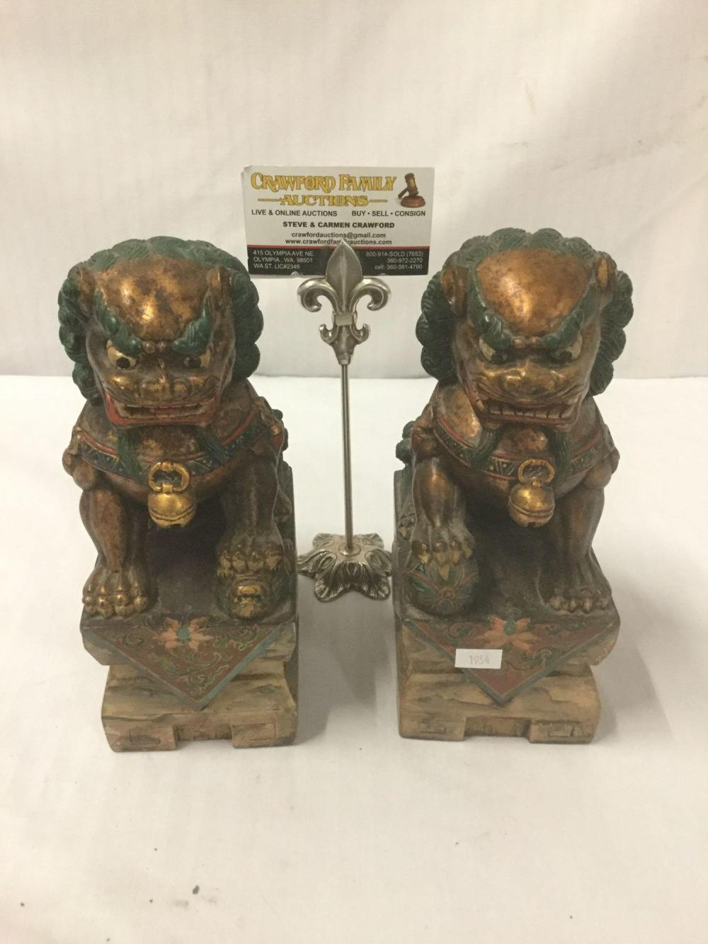 Pair of Carved and Painted Guardian Lion (foo dog) sculptures