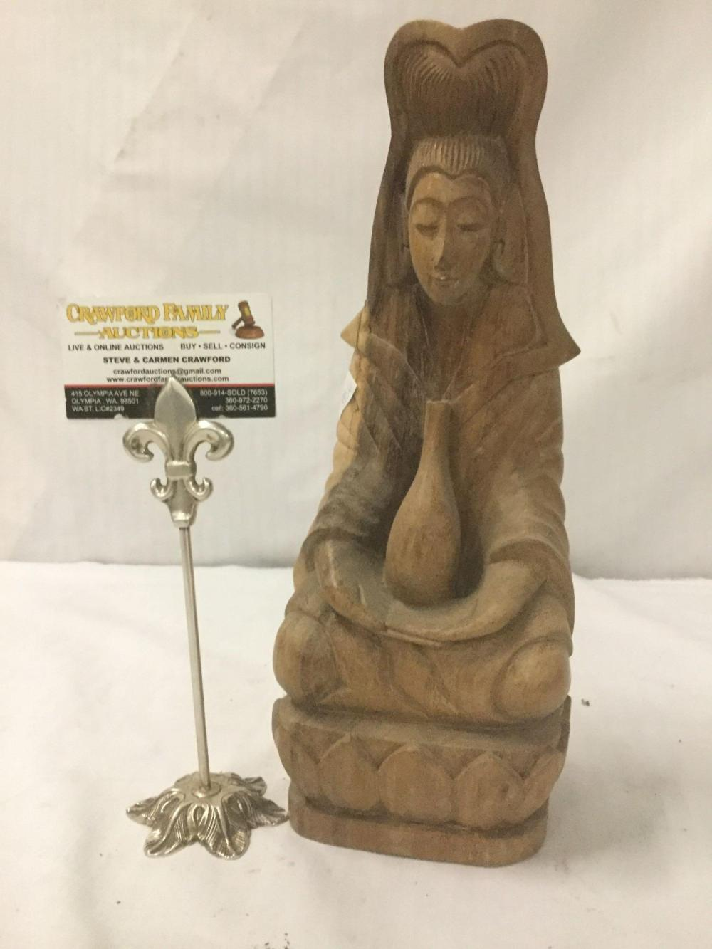 Lot 196: Wooden hand carved Chinese statue of woman with vase