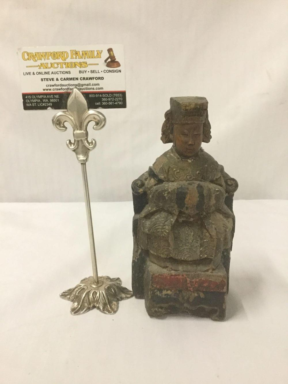 Antique/vintage carved and painted Asian figural Statue on a plinth base