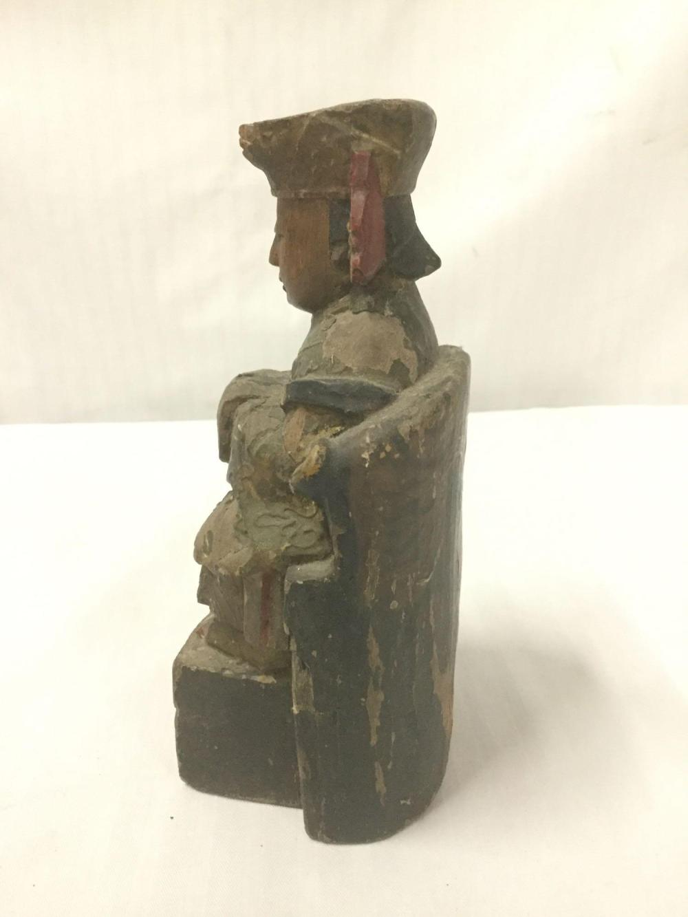 Lot 192: Antique/vintage carved and painted Asian figural Statue on a plinth base