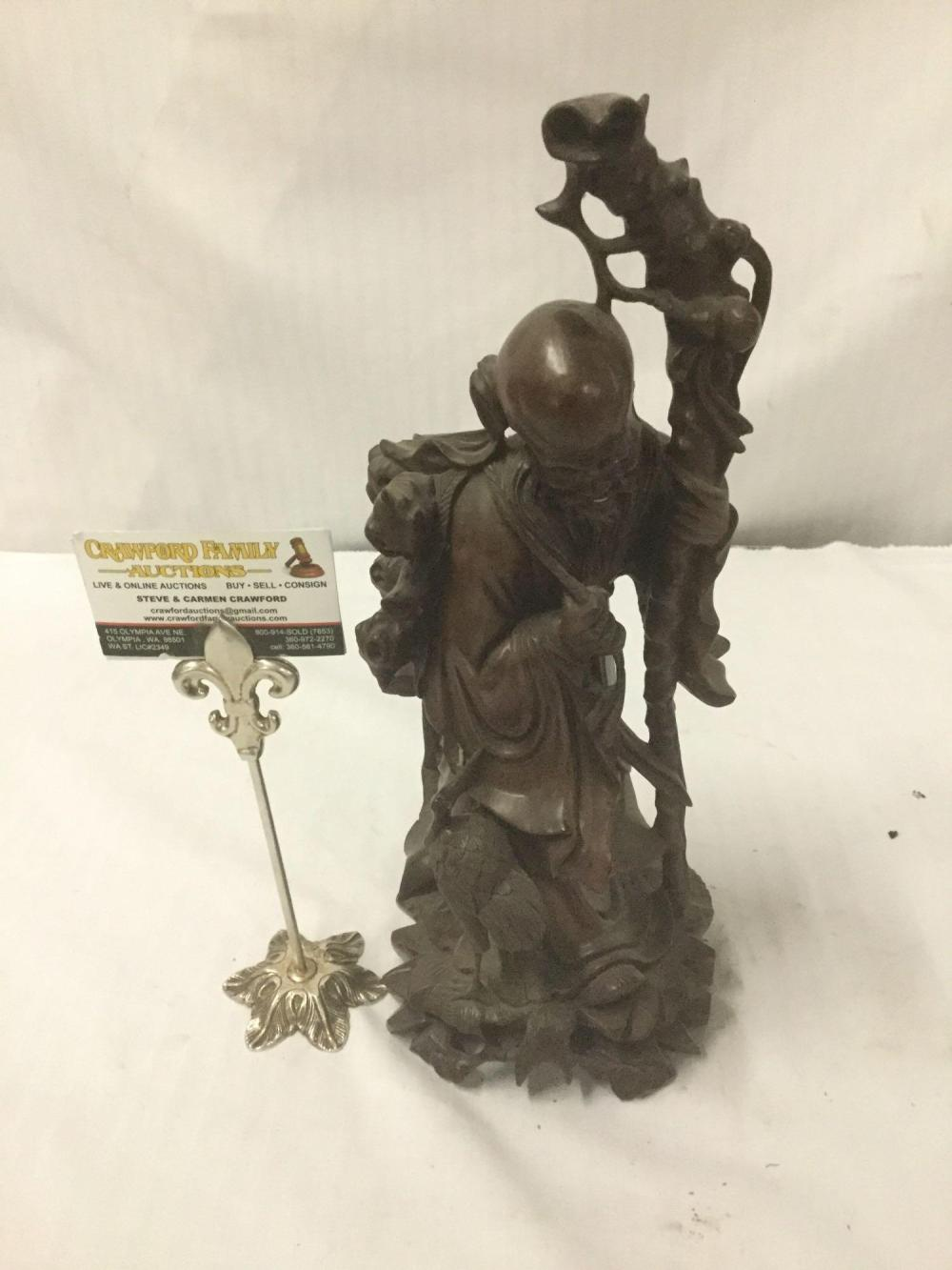 Lot 197: Hand carved Chinese wood statue of a sage