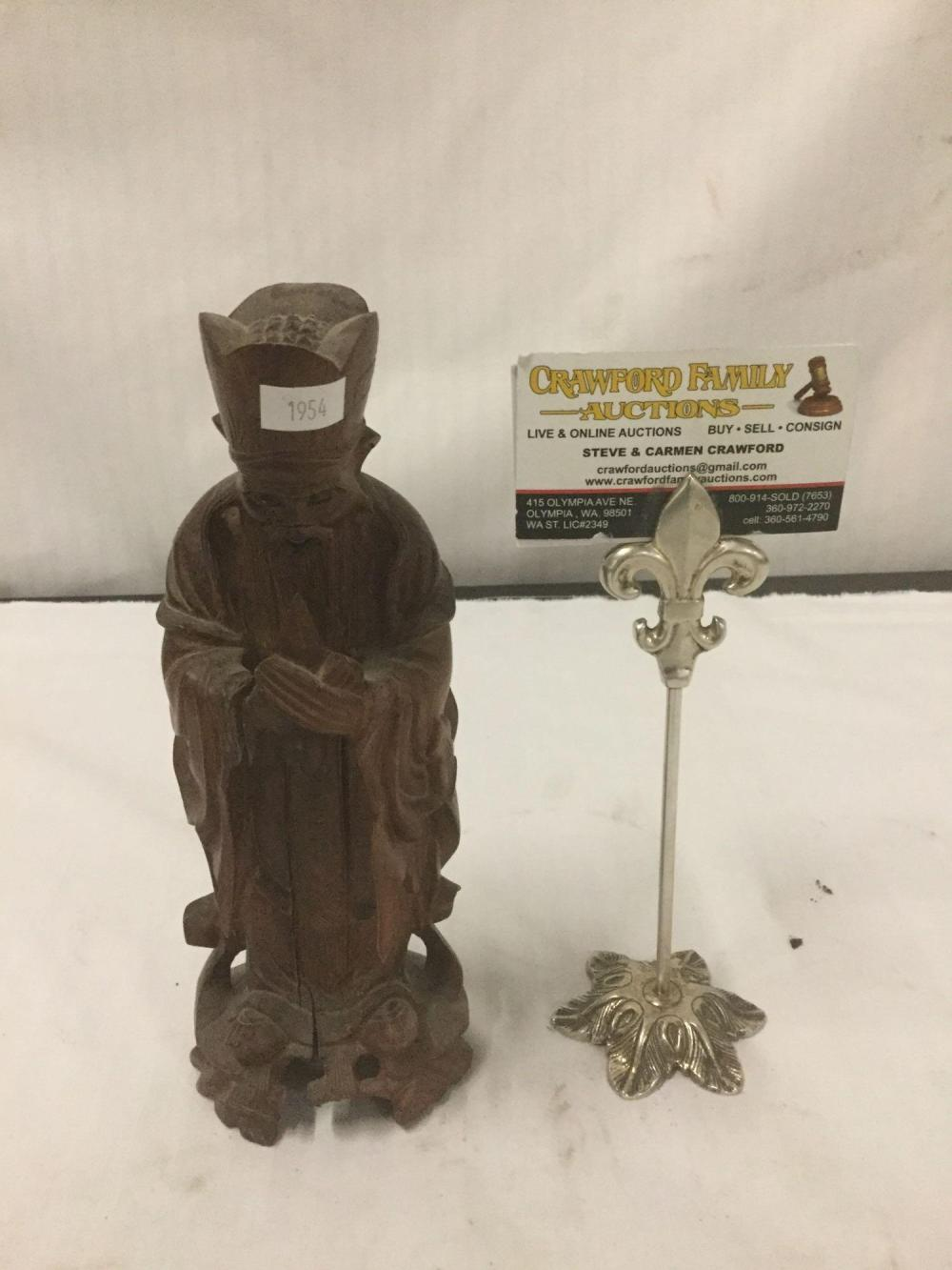 Lot 200: Vintage/antique hand carved wooden Chinese figural statue of sage