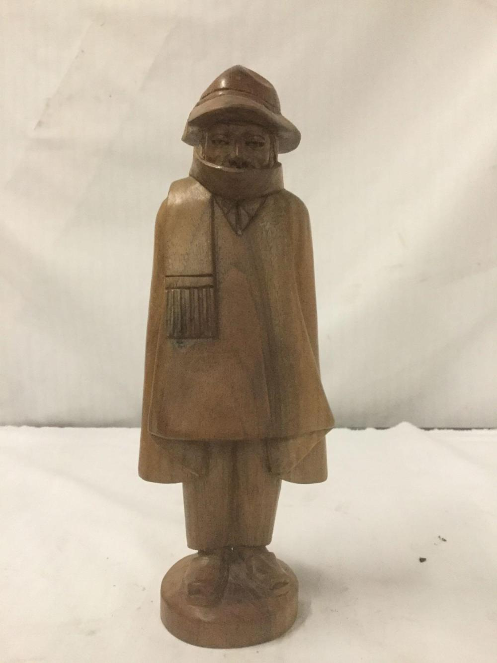 Hand carved wood statue of man with scarf. Marked G.A. 300 dollars 11 - Has chip in hat