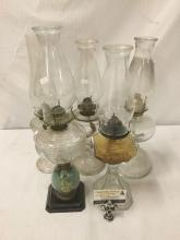 Lot 202: Collection of 5 vintage/antique glass oil lamps