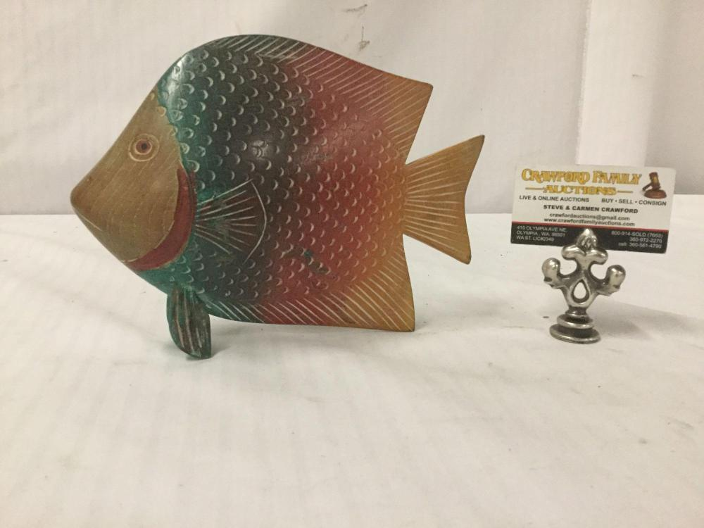 Lot 206: Hand painted, hand carved wooden rainbow fish sculpture