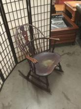 Lot 335: Antique B&S co rocking chair with windsor back - as is see desc