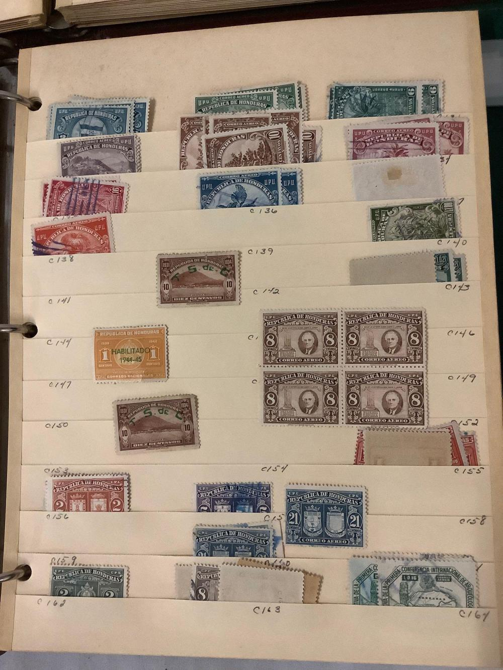 Lot 355: 3 binders full of antique stamps from Dominican Republic, Ecuador & Honduras, 1890s to modern