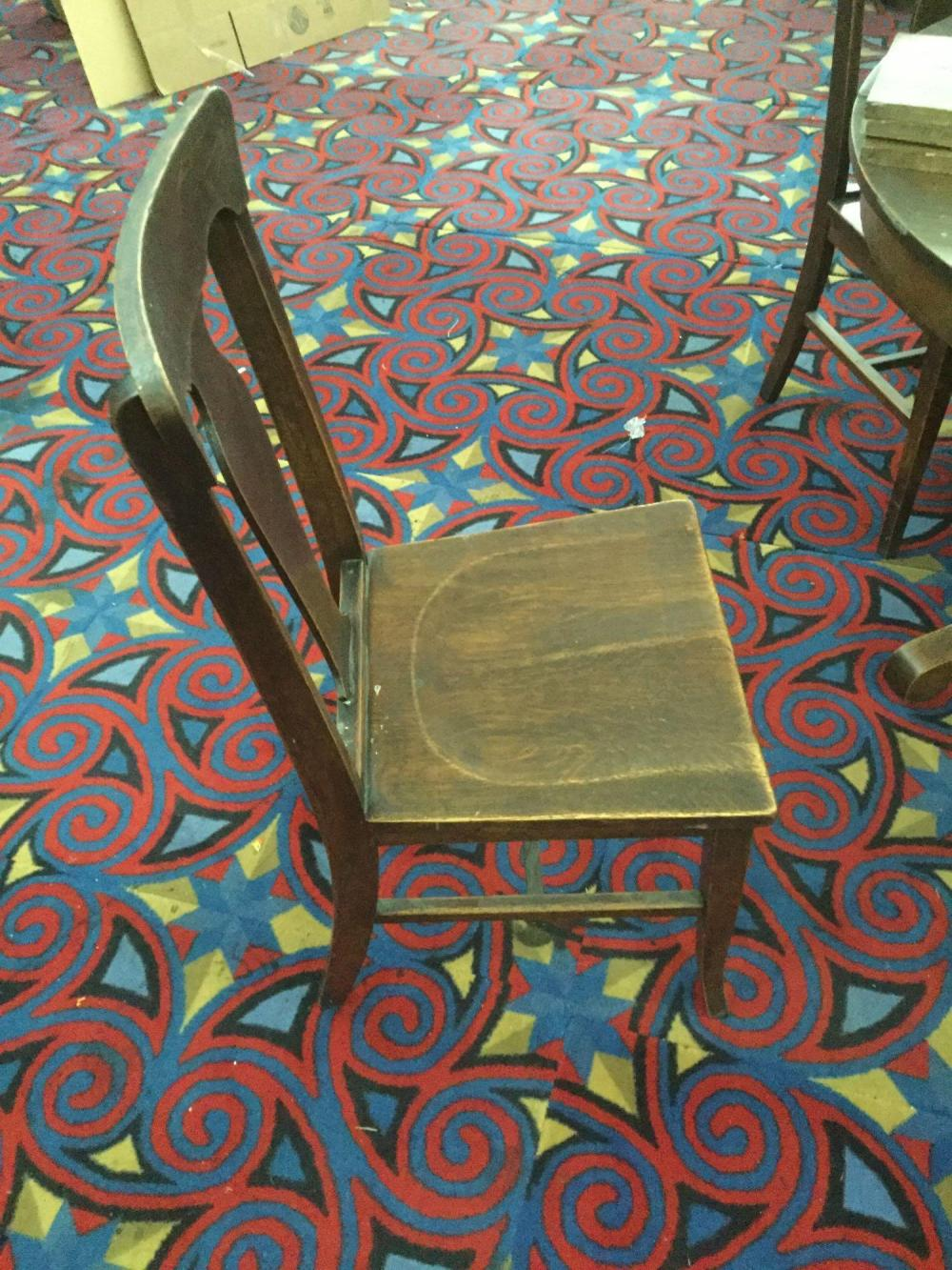 Lot 340: Antique round mission style dining table with 4 chairs and 3 leaves that need refinishing