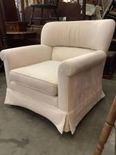 Lot 321: Modern upholstered cream / white arm chairs