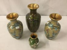 Lot 376: Lot of 4 vintage brass cloisonne vases with classic designs