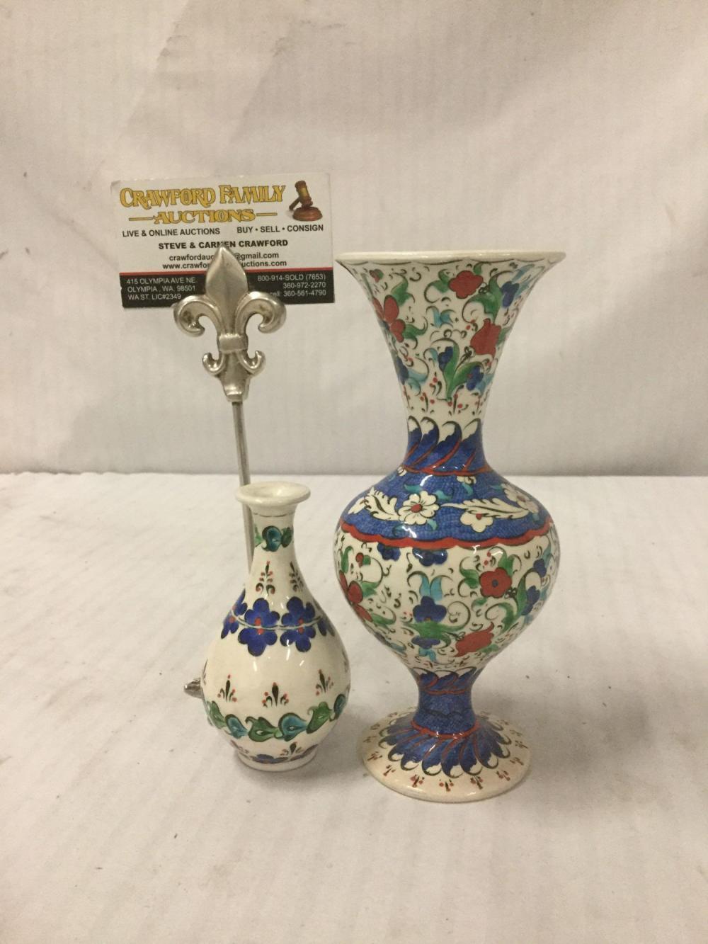 Lot 297: 2 hand painted flower print vases - artist signed on the bottom