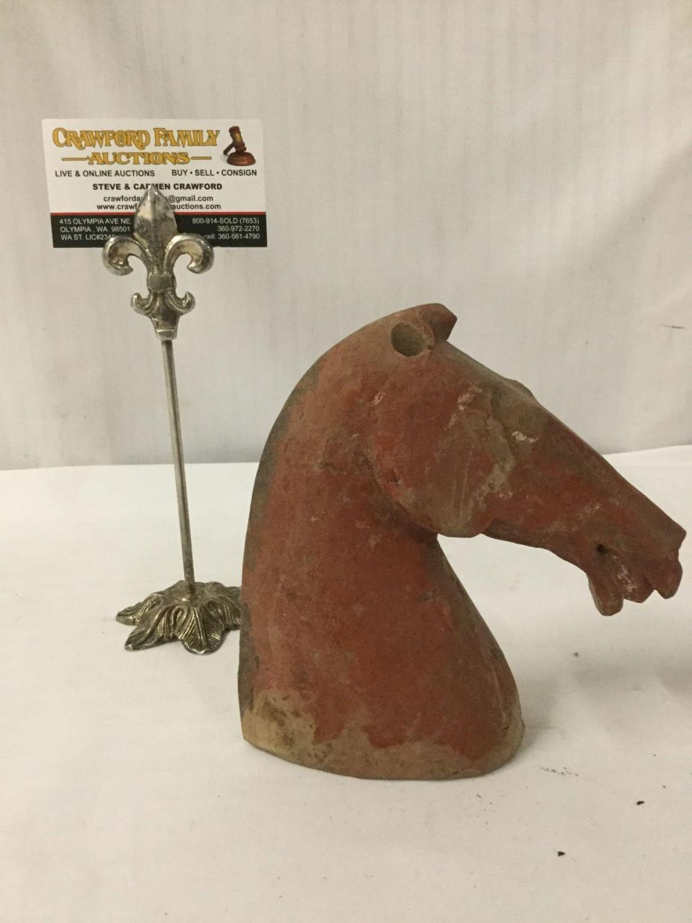 Lot 390: Antique painted ceramic archaistic horse head sculpture