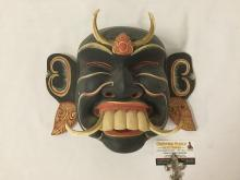 Lot 365: Wood carved hand painted tribal mask / wall hanging art piece