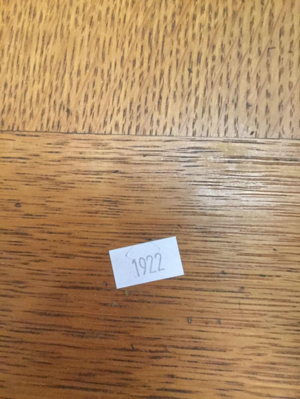 Lot 332: Antique New Home Sewing machine table with 5 drawers as is