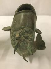 Lot 375: Lot of 3 vintage metal fish vases - nice set