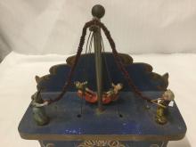 Lot 397: Stunning German handmade art deco hand painted and made wooden swing shelf clock