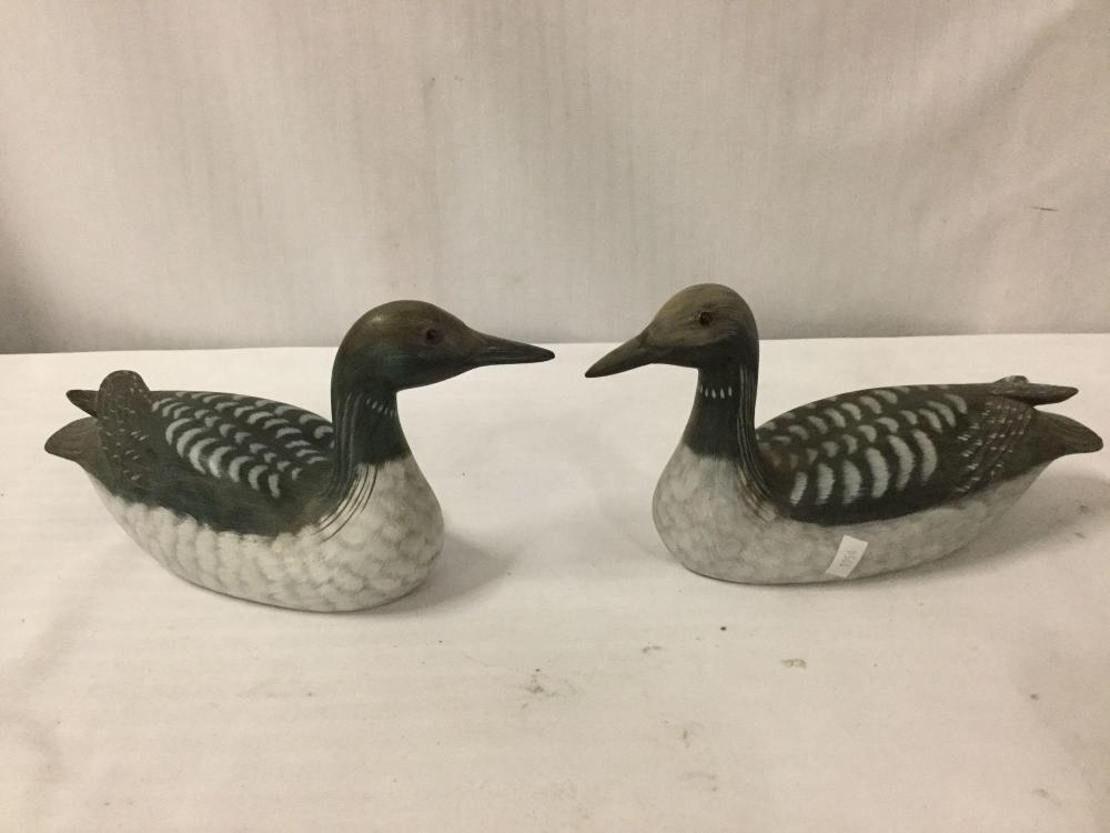 Lot 369: Lot of 3 hand painted wooden ducks / duck decoys