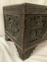 Lot 341: Vintage Asian wood carved trunk with ornate landscape and figure carvings