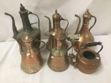 Lot 217: Collection of 5 vintage Turkish Copper ewers and a cooper teapot with no lid